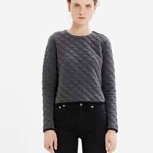 Madewell Quilted Crop Sweatshirt Pullover Grey Top